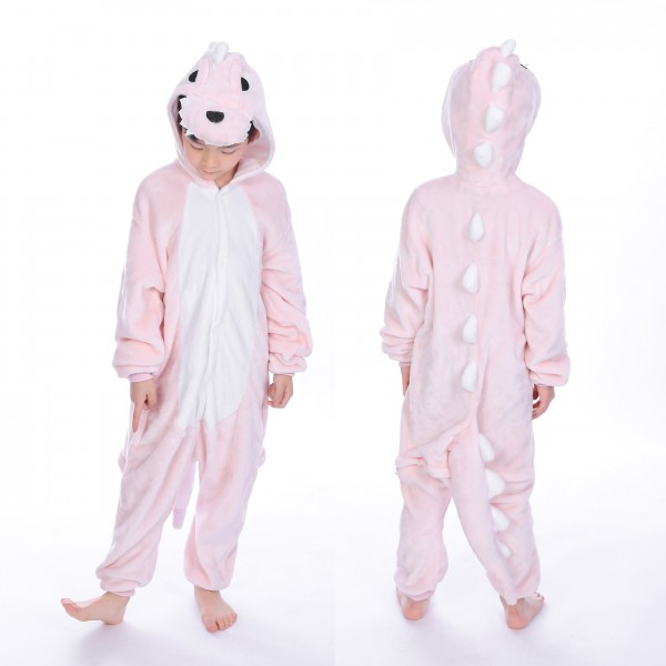 Pink Dinosaur Onesie for Kid Animal Kigurumi Pajama Halloween Costumes