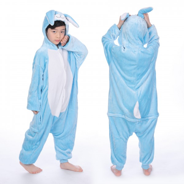 Blue Rabbit Onesie for Kid Animal Kigurumi Pajama Halloween Costumes