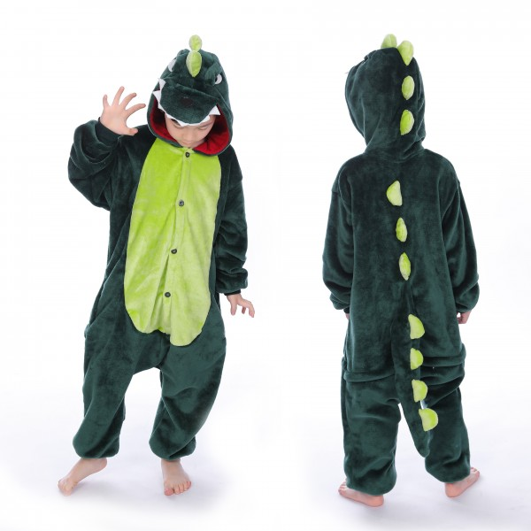 Green Dinosaur Onesie for Kid Kigurumi Animal Pajama Halloween Costumes