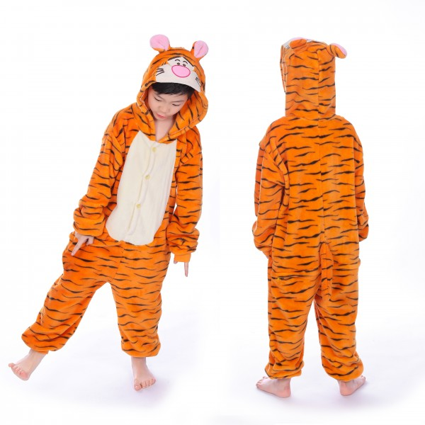 Winnie the Pooh Tigger Onesie for Kid Animal Kigurumi Pajama Halloween Party Costumes