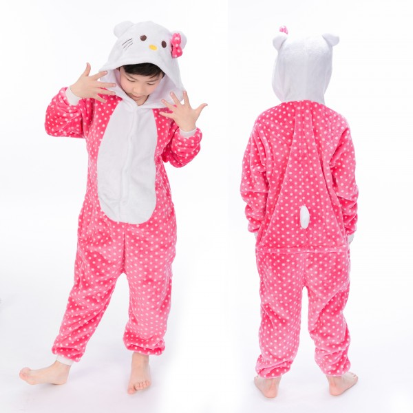 Pink Hello Kitty Onesie for Kid Animal Kigurumi Pajama Halloween Costumes