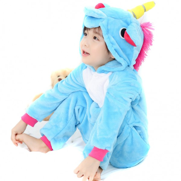 Blue Unicorn Onesie for Kid Animal Kigurumi Pajama Party Costumes