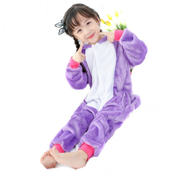 Purple Unicorn Onesie for Kid Animal Kigurumi Pajama Party Costumes