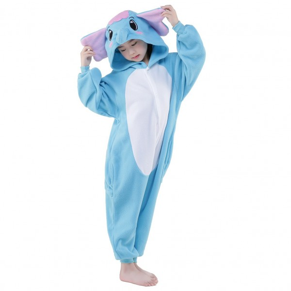 Blue Elephant Onesie for Kid Animal Kigurumi Pajama Halloween Costumes