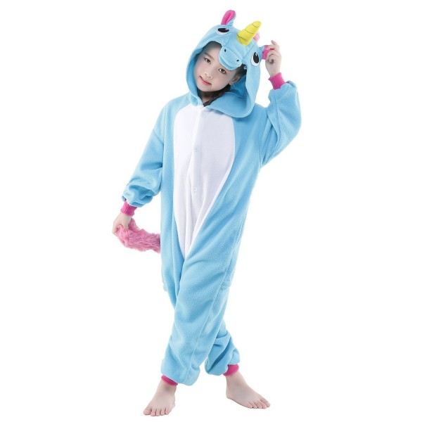 Blue Unicorn Onesie for Kid Animal Kigurumi Pajama Halloween Costumes