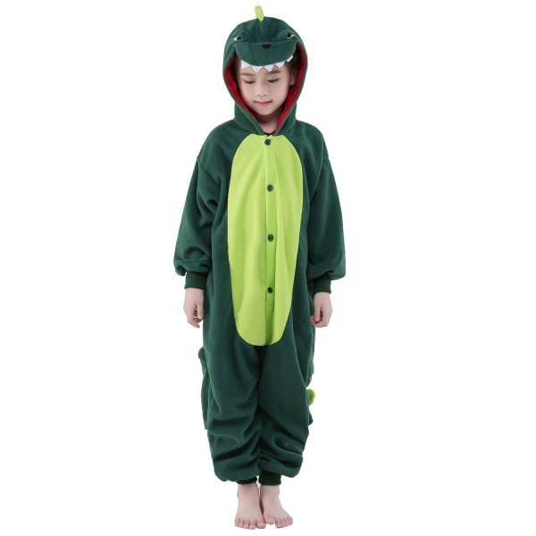 Green Dinosaur Onesie for Kid Animal Kigurumi Pajama Party Costumes