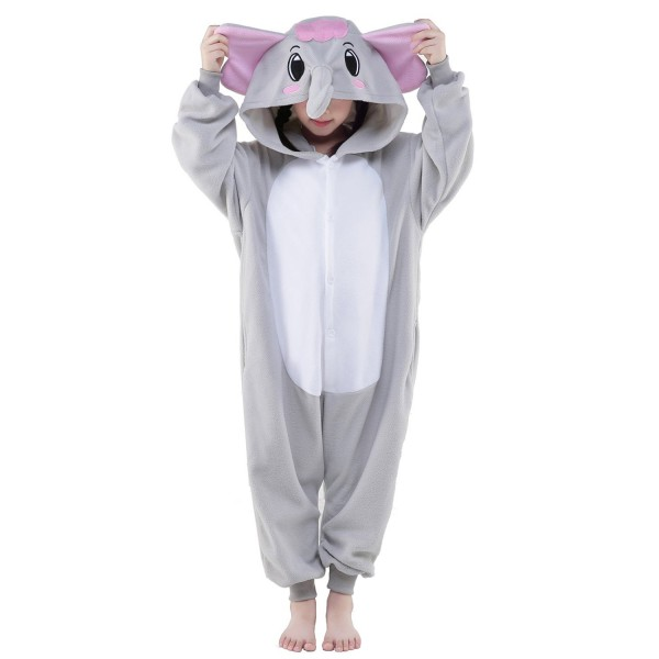 Gray Elephant Onesie for Kid Animal Kigurumi Pajama Halloween Costumes