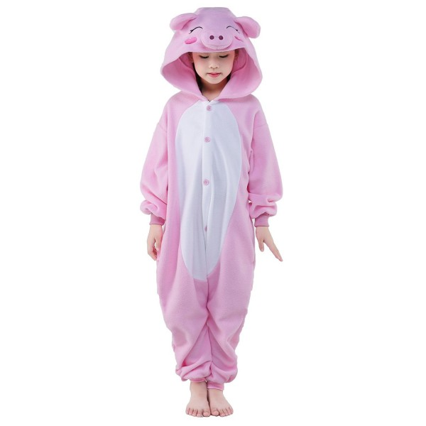 Pink Pig Onesie for Kid Animal Kigurumi Pajama Halloween Costumes