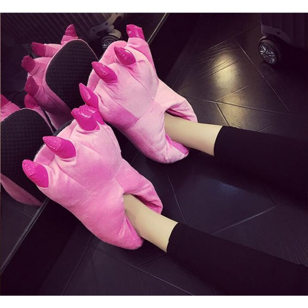 Pink Unisex Plush Paw Claw House Slippers Animal Costume Shoes