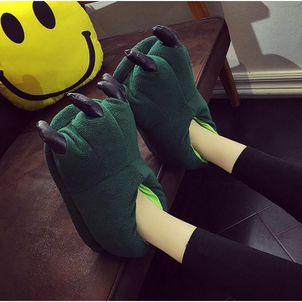 Green Unisex Plush Paw Claw House Slippers Animal Costume Shoes