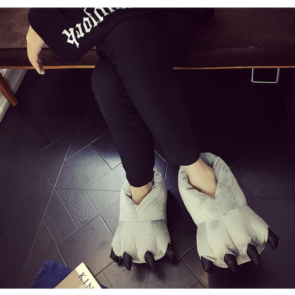 Gray Unisex Plush Paw Claw House Slippers Animal Costume Shoes