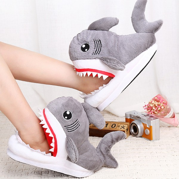 Cotton Coral Fleece Cartoon Antiskid Animal Shark Warm Slippers